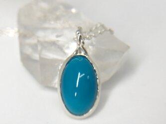 天然トルコ石(ターコイズ)純銀ネックレス4.91ct☆アリゾナ州キングマン産原石から磨いた1点もの!の画像