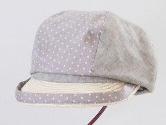 水玉×シャンブレーのコンビのキャスケット(ブラウン) 春夏の帽子 サイズ調整OK PS0679の画像