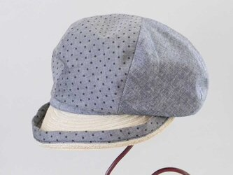 水玉×シャンブレーのコンビのキャスケット(ネイビー) 春夏の帽子 サイズ調整OK PS0679の画像
