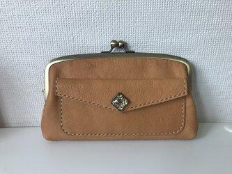 外ポッケ付き本革ふっくら親子がま長財布の画像