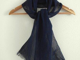 ◆100%自然素材 天然灰汁発酵建て 本藍染◆ 麻100%ストールの画像