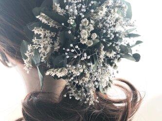 【ユーカリと白い小花のヘアクリップ/プリザーブドフラワー/髪飾り・ボタニカルコサージュ使用可】の画像
