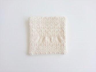 mosaic 手織り布のコースター 白の画像
