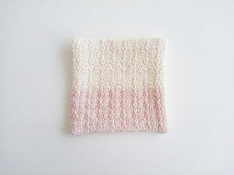 mosaic 手織り布のコースター 蘇芳ツートーンの画像