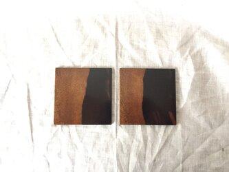黒柿の平皿 寸五角 二枚合セの画像