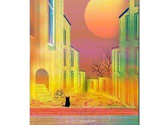 「夕陽を見ていたい日もあるよね^^」 ほっこり癒しのイラストポストカード2枚組No.728の画像