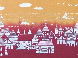 型染めてぬぐい「海の街」(夕映え)(綿100%・手染め抜染)の画像