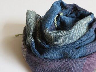 手織りオーガニックコットンストール・・青×紫の画像