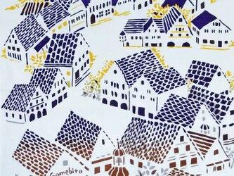 型染めてぬぐい「城塞の街 ‐凛凛-」(綿100%・手染め捺染)の画像