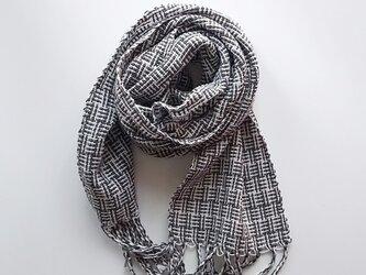 コットン100%♪上品 あじろ織り手織りミニストールの画像