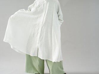 【wafu】薄手 リネン ワンピース 羽織  ビック フレアワンピース 2way 長袖 / ホワイト a080a-wht1の画像