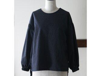ボリューム袖のブラウス 水玉 ネイビー(M)の画像