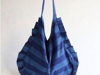 stripe frill bag (blue & blue)の画像