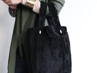 damask tote bag (black)の画像