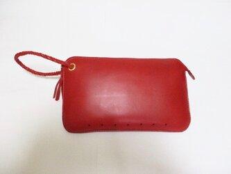 ブッテーロのクラッチバッグ(赤)の画像