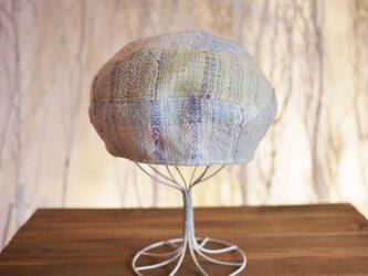 手織り 3段ベレー帽子 春夏糸の画像