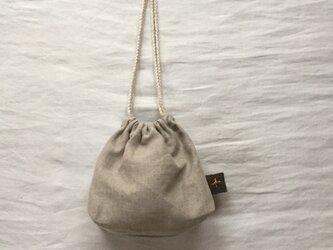 リネン『十字架刺繍』巾着バッグの画像