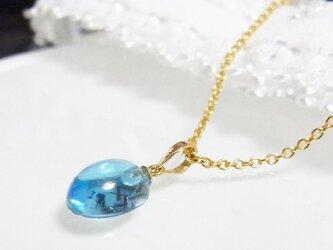 K18 つるんとした 小さなブルートパーズ ネックレスの画像