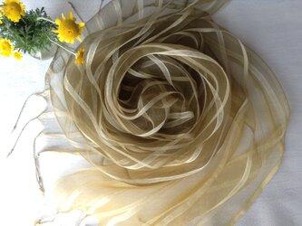 【ダイヤーズカモミール染め】シルク&ビスコースストール 53cm幅 グラデーション染めの画像