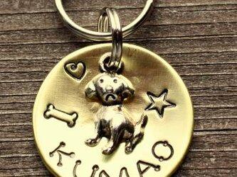 迷子札MD371 真鍮製(ブラス) 直径2.5cm 犬のチャーム付の画像