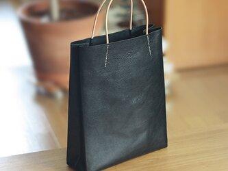 大人の革袋M・A4が入る・ブラックナチュラル[受注製作品]の画像