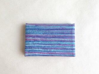 絹手染カード入れ(横・青赤紫)の画像
