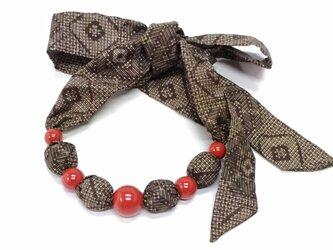 値下 漆玉と大島紬の和布ネックレスの画像