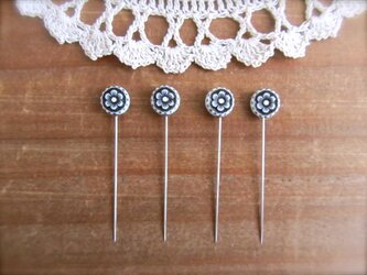 お花ビーズの待ち針 4本セット モノトーンの画像