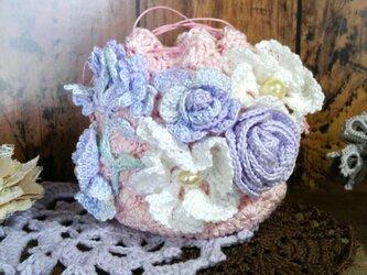 はなざかり巾着 04 ~ 編み物 レース編み ポーチ ピンクの画像
