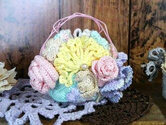 はなざかり巾着 豆ちゃん 06 ~ 編み物 レース編み ポーチ グラデーションの画像