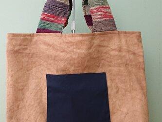 柿渋染め帆布バッグ·もち手は裂き織りの画像