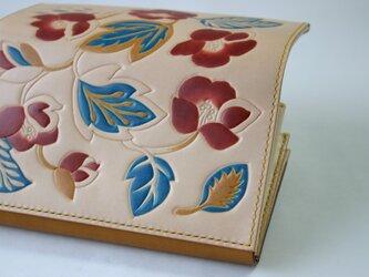 手染め手縫い革の長財布Daily Flowerの画像