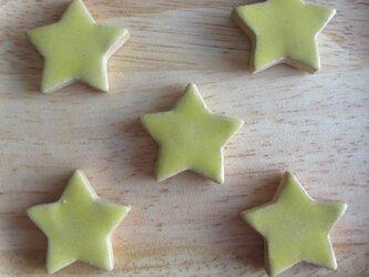 [送料無料] 陶器 おはじき・タイル(小)星×黄 5個セット Aの画像