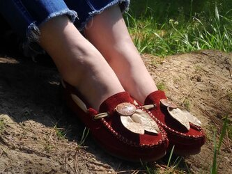 [SALE]Fita Moccasin shoes フィタ レザーモカシン A.redの画像