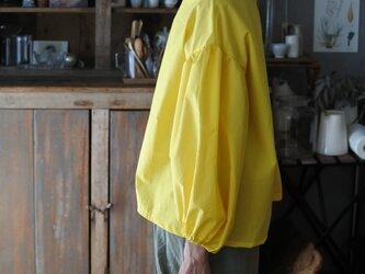 クリックポスト送料込バルーン袖コットンブラウス イエローの画像