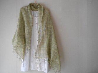 極細シルク糸と手紡ぎ綿糸の手織りショールの画像