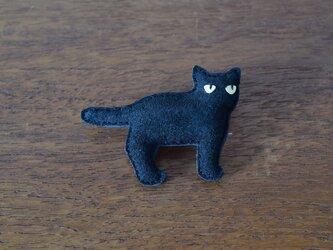 ブローチ 黒猫の画像