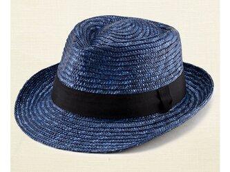 ノア 中折れ 麦わら帽子 ストローハット ブルー 57.5cm [UK-H005-M-BL]の画像