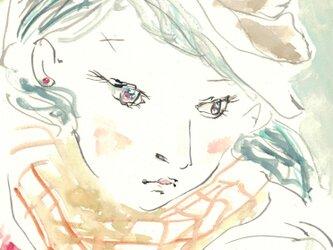 原画 チェック柄のスカーフ-plaid scarf-の画像
