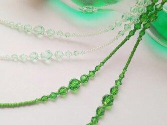 緑のスワロフスキーパレット・グラスコード(メガネチェーン・ストラップ)エバーグリーン/おしゃれ/パーティにもの画像