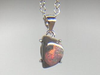 天然ブラックオパールシルバーロングネックレス0.93ct☆ オーストラリア・ライトニングリッジ産の原石から磨きました!の画像