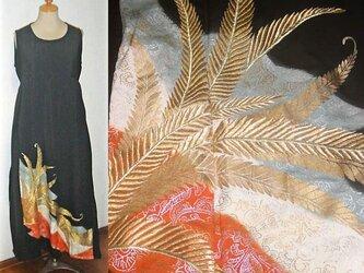 留袖リメイク♪ゴールデンリーフアンティーク留袖ワンピースイレギュラーヘム♪ハンドメイド・正絹の画像