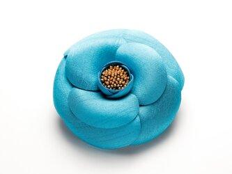 椿コサージュ ターコイズブルーの画像