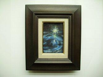 絵画 インテリア ミニチュアール額絵 油絵の具とクレパスのコラボ画 新星の画像