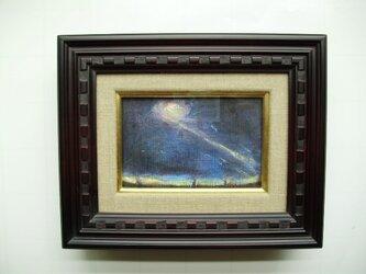 絵画 インテリア ミニチュアール額絵 油絵の具とクレパスのコラボ画 a cometの画像