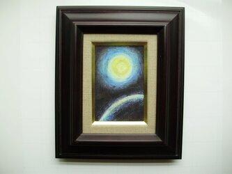 絵画 インテリア ミニチュアール額絵 油絵の具とクレパスのコラボ画 惑星の画像