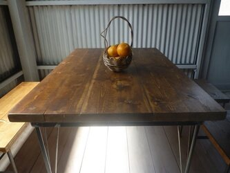 【送料無料】【組み立て不要】 アイアン ウッド ダイニングテーブル ベーシック の画像