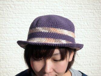 ボーダーコットンハット【紫ボーダー系】の画像