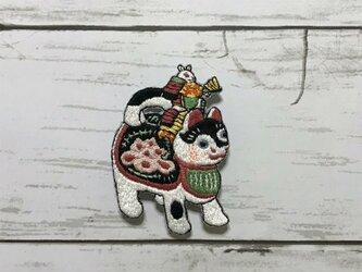 手刺繍浮世絵ブローチ*月岡芳年「猫鼠合戦」の鼠の画像