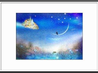 「慈母のごとき三日月を漕いで」 ほっこり癒しのイラストA4サイズポスターNo.641の画像